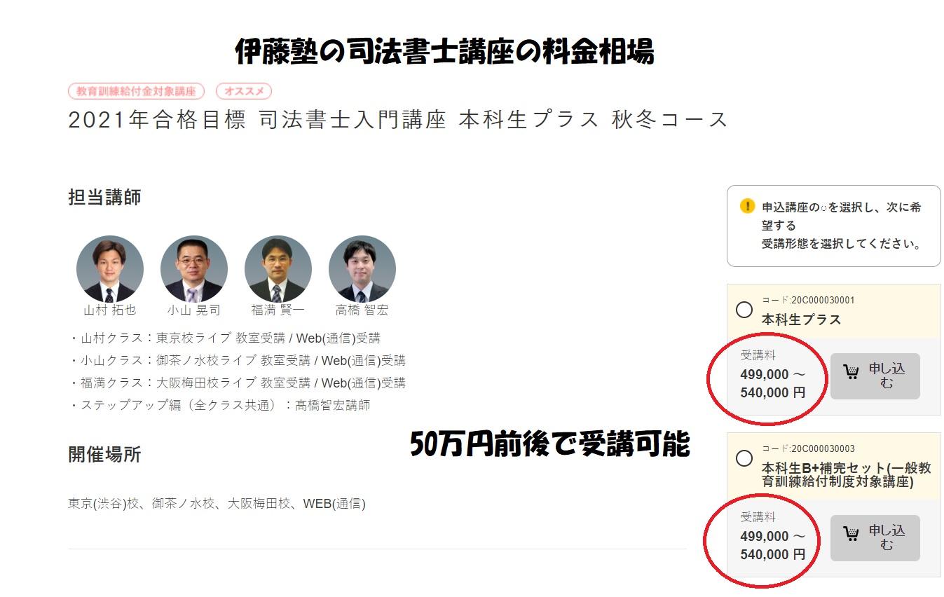 伊藤塾司法書士講座の料金