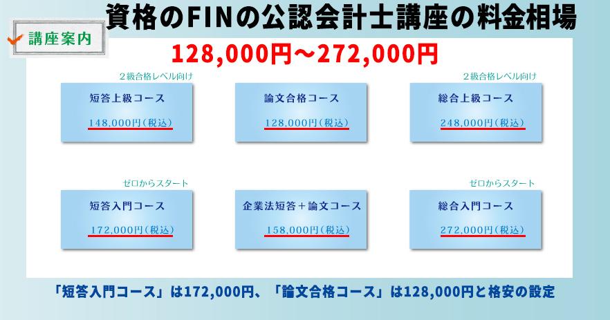 資格のFINの公認会計士講座の料金相場