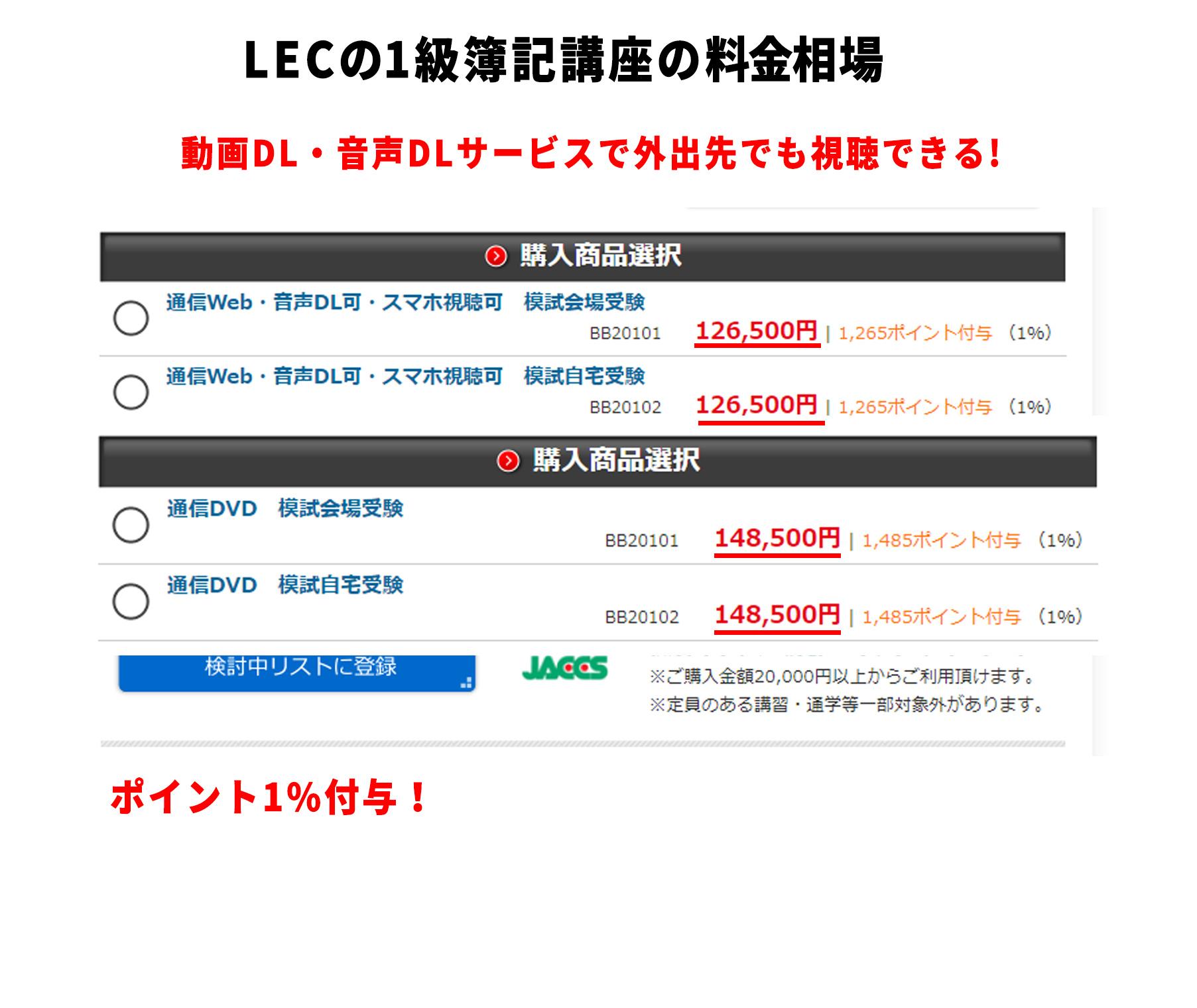 LECの簿記1級講座の料金相場