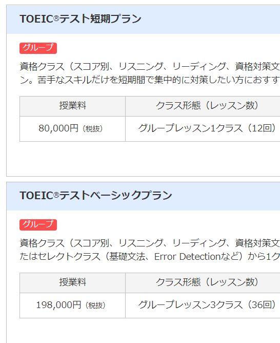 日米英語学院のTOEIC対策講座の料金相場