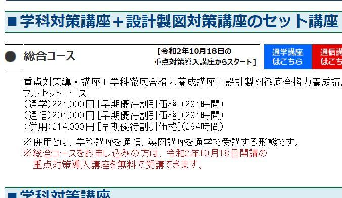 全日本建築士会の通信と通学の料金