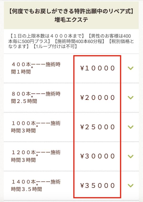 増毛エクステ専門boutique SENSE by plus hairの料金相場