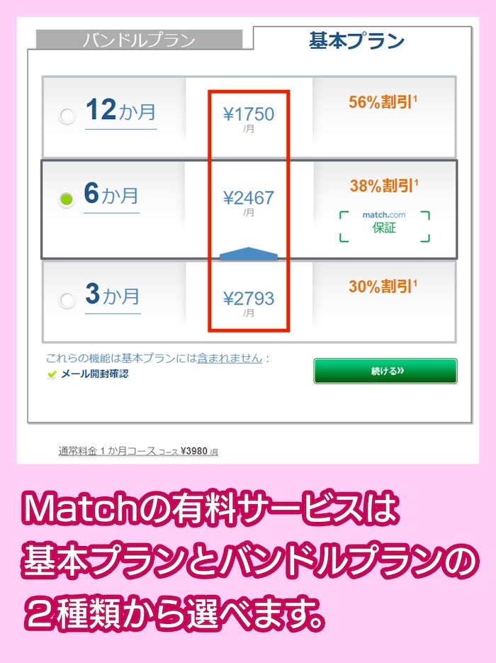 Match(マッチ・ドットコム)の料金相場