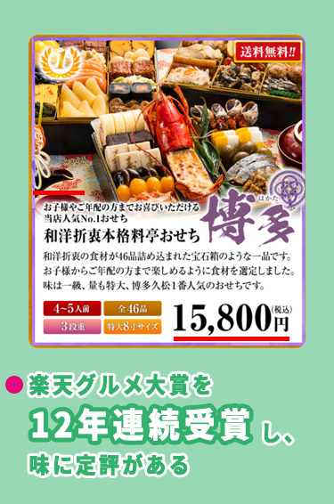 博多久松の通販おせち料理価格相場