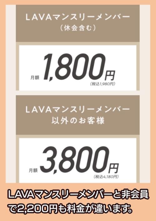 LAVAうちヨガ+の料金相場