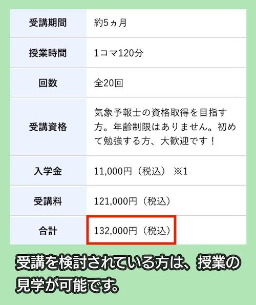 テレビ朝日アスクの気象予報士養成学科の料金相場