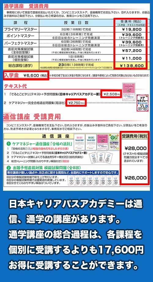 日本キャリアパスアカデミー 料金相場